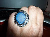 Массивное серебряное  кольцо с натуральной друзой