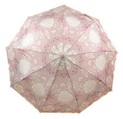 Женский надежный зонт с ветрозащитой, полуавтомат 756-9 розовый/цветы