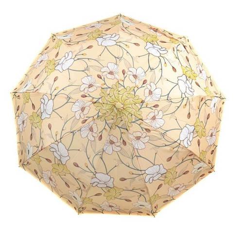 Самый красивый женский зонт с ветрозащитой, полуавтомат 756-8 бежевый/цветы