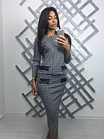 Женский стильный костюм с гусиной лапкой: жакет/пиджак и юбка-карандаш