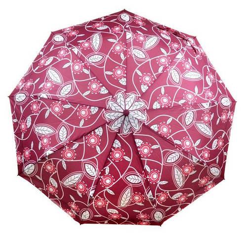 Яркий прочный женский зонт с ветрозащитой, полуавтомат 756-7 бордовый/цветы