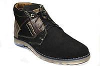 Осенние мужские ботинки из натурального нубука на шнурках.