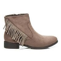 Модные замшевые ботинки женские бежевые с кисточками