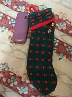 Носок новогодний зеленый для подарка с бубенчиками