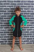 Детский велюровый халат зеленый, фото 1