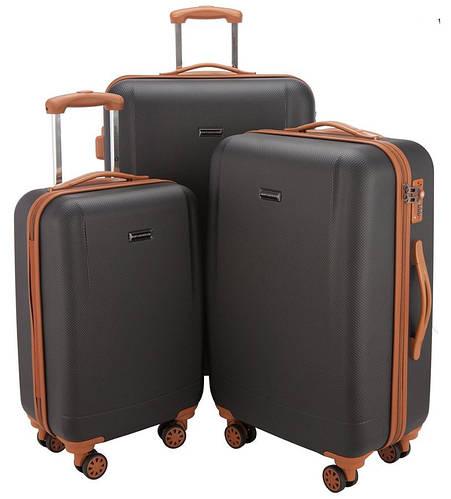 Дорожный пластиковый набор чемоданов 94 л., 63 л., 38 л. HAUPTSTADTKOFFER WANNSEE set black черный