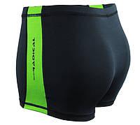 Плавки мужские для купания с защитой от хлора Radical Shoal, черные с зеленым