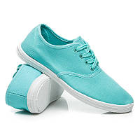 Тканевые женские мокасины голубые на шнурках