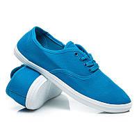 Тканевые женские мокасины синие на шнурках