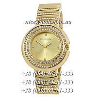 Часы женские Michael Kors Золотые Металлические в стразах с желтым циферблатом