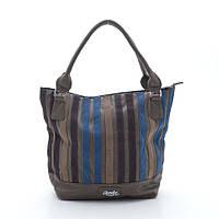 Вместительная женская сумка на плече с полосками разного цвета. Удобная, практичная женская сумка. Код: КБН30