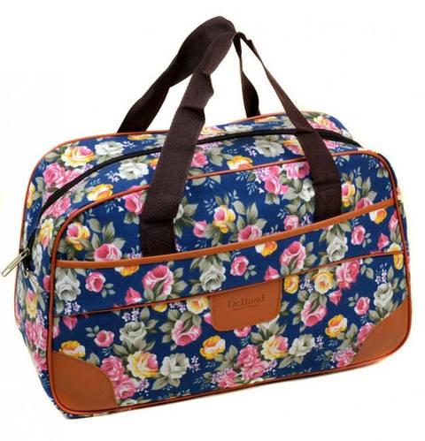 Выразительная женская сумка для поездок 24L, полиэстер dr.Bond 6601-1 blue-2 голубой/цветы