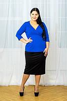 Двухцветный костюм (блуза с лифом с запахом и прямая юбка миди)