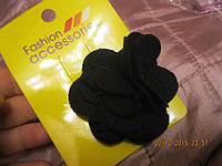 Фетр черный цветок заколка резинка бижутерия