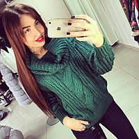 Женский красивый теплый свитер объемной вязки (4 цвета)