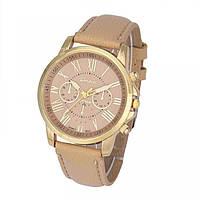 Женские часы Geneva, бежевые, лучшая цена!