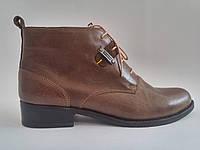 Кожаные женские демисезонные коричневые ботинки, устойчивый каблук Fashion Footwear