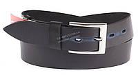 Прочный кожаный мужской ремень высокого качества черного цвета потертость на отверстиях MASCO 4 см Украина