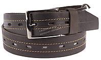 Прочный кожаный мужской ремень высокого качества коричневого цвета потертость по центру MASCO 4 см Украина