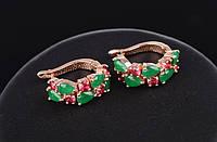 Серьги позол 18К с зелеными и красными цирконами
