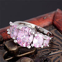 Серебряное кольцо розовый цирконий
