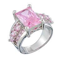 Кольцо с цирконами(цвет-розовый)