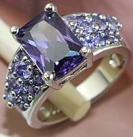 Кольцо с цирконами(цвет-фиолетовый)