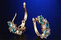 Серьги 18К позолота с голубыми и белыми цирконами