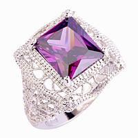 Кольцо-перстень  фиолетовый аметист