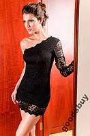 1140DB Платье Черное на Одно Плечо Кружевное S/M