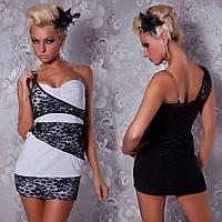 1081DB Платье Черно - Белое Кружевные Вставки S/M