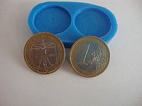 """Силиконовый молд """"Монеты 1 евро""""(код 02304)"""