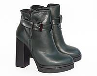 Ботинки кожаные, демисезонные, темно-зеленого цвета, 36,37,38,39,40 р.