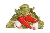 "Салфетница фарфоровая 14х7х8,5 см. ""Перец, чеснок"" зеленая"