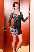 1085DB Платье Черно - Белое Кружевные Вставки S/M