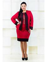 Костюм большого размера (платье и пиджак с отделкой)