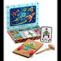 Деревянная игра апликация с молоточком DJECO Космодром DJ06642