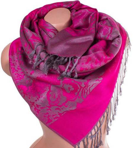 Красивый женский двусторонний палантин из пашмины 180 на 70 см ETERNO ES2707-5-11 розовый