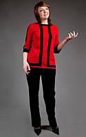 Костюм большого размера (блуза с отделкой и рукавами с манжетами и брюки)