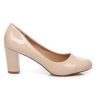 Классические женские туфли бежевые лаковые, внутри натуральная кожа