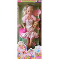 Кукла в коктельном платье с собачкой