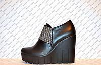Туфли на платформе женские стильные черного цвета