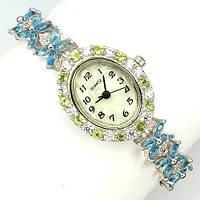 Серебряные Часы с натуральными ТОПАЗАМИ SWISS BLUE - Швейцарская Синева, ПЕРИДОТОМ и фианитами (цирконием)