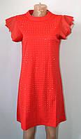 Платье стильное с камнями красного цвета Х 88838/2