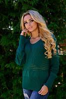 Женский зеленый  свитерок. Код- 1421-т.зеленый