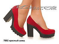 Женские замшевые молодежные красные туфли на каблуке 10 см (размеры 36-40)