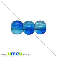 Бусина стеклянная Битое стекло, 4 мм, Синяя, Круглая, 50 шт. (BUS-000972)