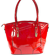 Каркасная стильная лаковая женская сумка красного цвета art. 6061