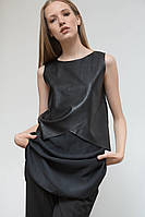 Нарядная женская туника-платье с кожаными вставками