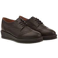 Туфли женские Deenoor (черные, кожаные, на шнурках, модные, актуальные, стильные)